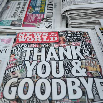 Copies of the last edition of the British tabloid newspaper News of the World are pictured on sale at a shop in south London on July 10, 2011. Britain's News of the World hit newsstands for the last time today after being closed amid the phone-hacking scandal, ending 168 years of scoops and scandal with the headline