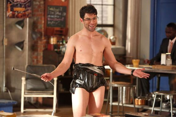 "NEW GIRL:  Schmidt (Max Greenfield), still encumbered by his penis cast uses a trash bag diaper to protect the cast when he showers in the all-new Season Two ""Re-launch"" episode of NEW GIRL airing Tuesday, Sept. 25 (8:00-8:30 PM ET/PT) on FOX."