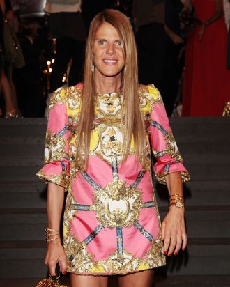 Anna Dello Russo attends the Dolce & Gabbana party as part of Milan Fashion Week Menswear Spring/Summer 2013 on June 24, 2012 in Milan, Italy.