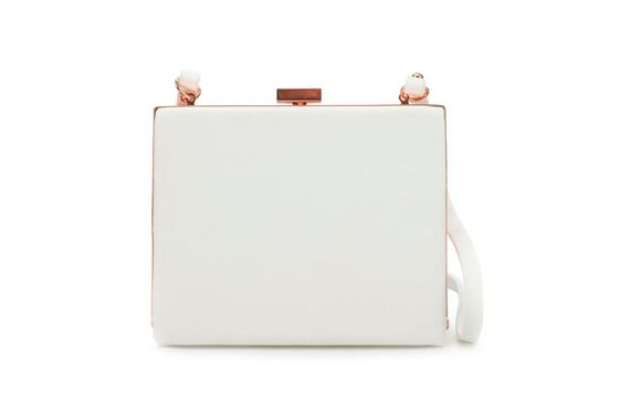 "Zara Box bag, $49.90, available at <a href=""http://www.zara.com/webapp/wcs/stores/servlet/product/us/en/zara-us-S2012/189512/665058/BOX%2BBAG%2BWITH%2BMETAL%2BCLASP%2BFRAME"">Zara</a>."
