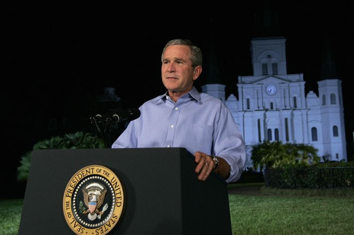 NEW ORLEANS, UNITED STATES:  US President George W. Bush after addressing the nation from Jackson Square, 15 September, 2005 in New Orleans, Louisiana.  Bush again took the blame for the government's flawed response to Hurricane Katrina, but promised one of the biggest rebuilding efforts the world has ever seen in the disaster zone.    AFP PHOTO/Brendan SMIALOWSKI  (Photo credit should read BRENDAN SMIALOWSKI/AFP/Getty Images)