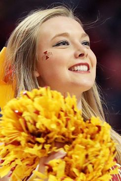 Cheerleader Katherine Coker, pre-basketball to the face.