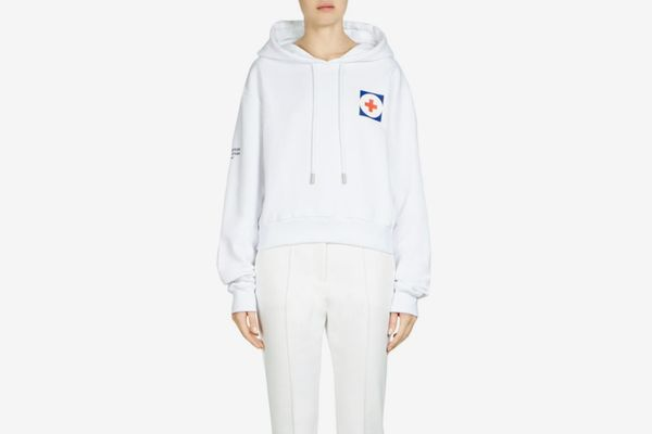 Off-White Red Cross Cropped Hoodie