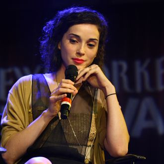 NEW YORK, NY - SEPTEMBER 30: Singer-songwriter St. Vincent, speaks to The New Yorker's pop music critic Sasha Frere-Jones on stage at The 2011 New Yorker Festival: In Conversation With St. Vincent at Le Poisson Rouge on September 30, 2011 in New York City. (Photo by Neilson Barnard/Getty Images for The New Yorker)