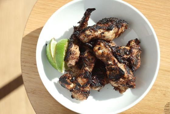 Grilled jerk wings.