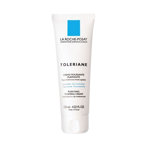 "A posh and creamy French cleanser that's moisturizing, yet rinses off well.  <i>La Roche Posay Toleriane Foaming Facial Cream, <a href=""http://www.soap.com/p/la-roche-posay-toleriane-purifying-foaming-cream-89611?site=CA&utm_source=Google&utm_medium=cpc_S&utm_term=LAC-013&utm_campaign=GoogleAW&CAWELAID=1323255102&utm_content=pla&adtype=pla&cagpspn=pla"">$23.99</a></i>"