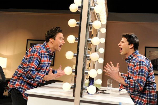 "SATURDAY NIGHT LIVE -- ""Jimmy Fallon"" Episode 1608 -- Pictured: (l-r) Jimmy Fallon, Andy Samberg -- Photo by: Dana Edelson/NBC"