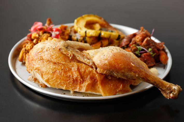 Rotisserie chicken with market vegetables.