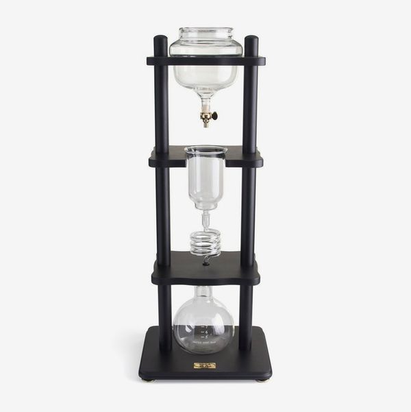 Yama Glass 6-8 Cup Cold Drip Maker Straight Black Wood