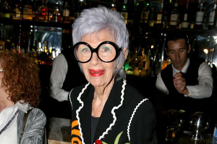 Iris Apfel==         IRIS APFEL EXTINCTIONS HANDBAG Launch==         The Empire Room, 350 5th Avenue, NYC==         May 08, 2012==         © Patrick McMullan==         Photo - AMBER De VOS/ PatrickMcMullan.com==         ==