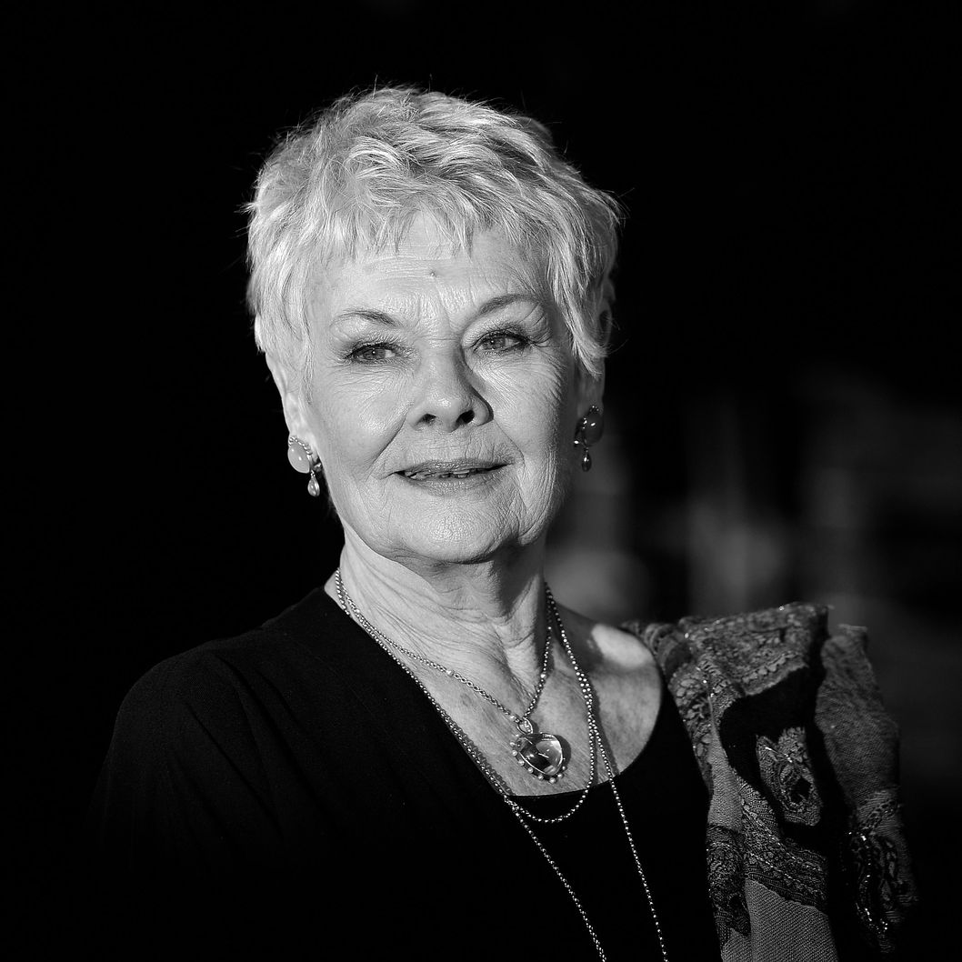 LONDON, ENGLAND - FEBRUARY 07:  (EDITORS NOTE: Image has been converted to black and white) Dame Judi Dench attends the World Premiere of 'The Best Exotic Marigold Hotel' at The Curzon Mayfair on February 7, 2012 in London, England.  (Photo by Gareth Cattermole/Getty Images)