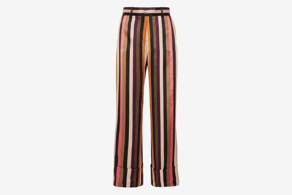 Petar Petrov Striped silk-satin wide-leg pants