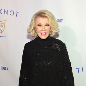 TV personality Joan Rivers attends the Tie The Knot Spring Collection launch hosted by Jesse Tyler Ferguson, Justin Mikita and Thetiebar.com at Avenue on February 27, 2013 in New York City.