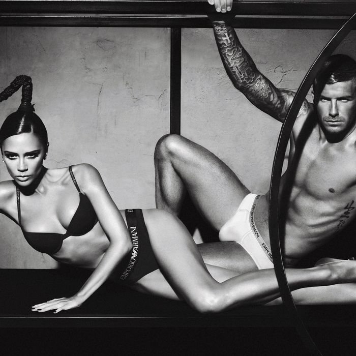 David and Victoria Beckham in absurd poses for Giorgio Armani underwear ads — the Strategist's editors share their favorite underwear.