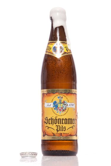 "Private Landbrauerei Schonram (Germany)<br>$6.80 for 16.9 oz. <br><strong>Type:</strong> German Pilsner<br><strong>Tasting notes:</strong> ""The finest Bavarian (or otherwise) pilsner I have ever had — the definition of crisp and impeccably balanced — brewed by an American in Germany, no less."" <br>—Matt Barclay, cellar manager, Bierkraft<br>   <br>"