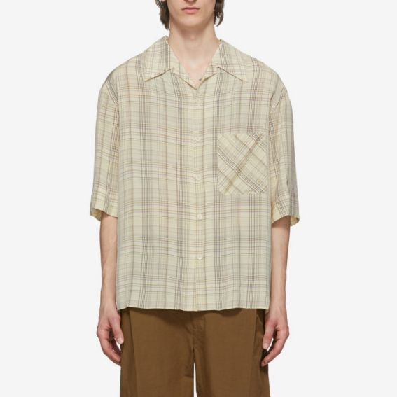 Lemaire Multicolor Check Convertible Collar Shirt