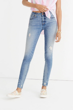 Madewell 9-Inch Destructed Hem High Waist Skinny Jeans