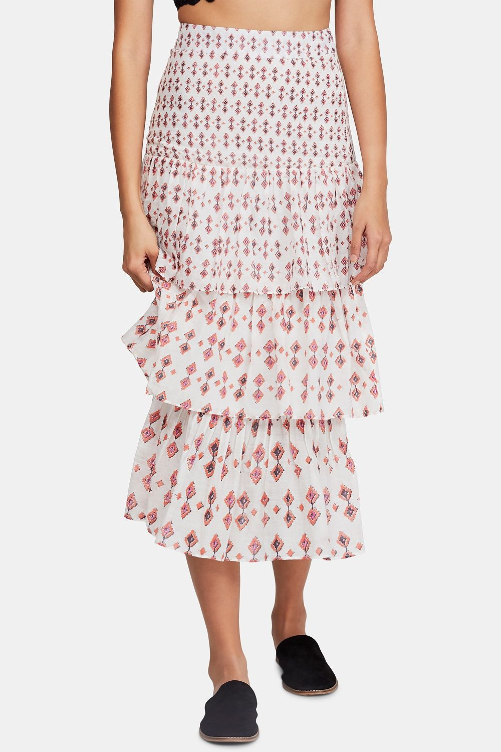 Free People Cha Cha Tiered Midi Skirt