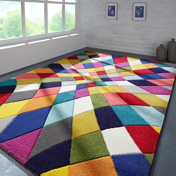 Geometric Design Rainbow Rug