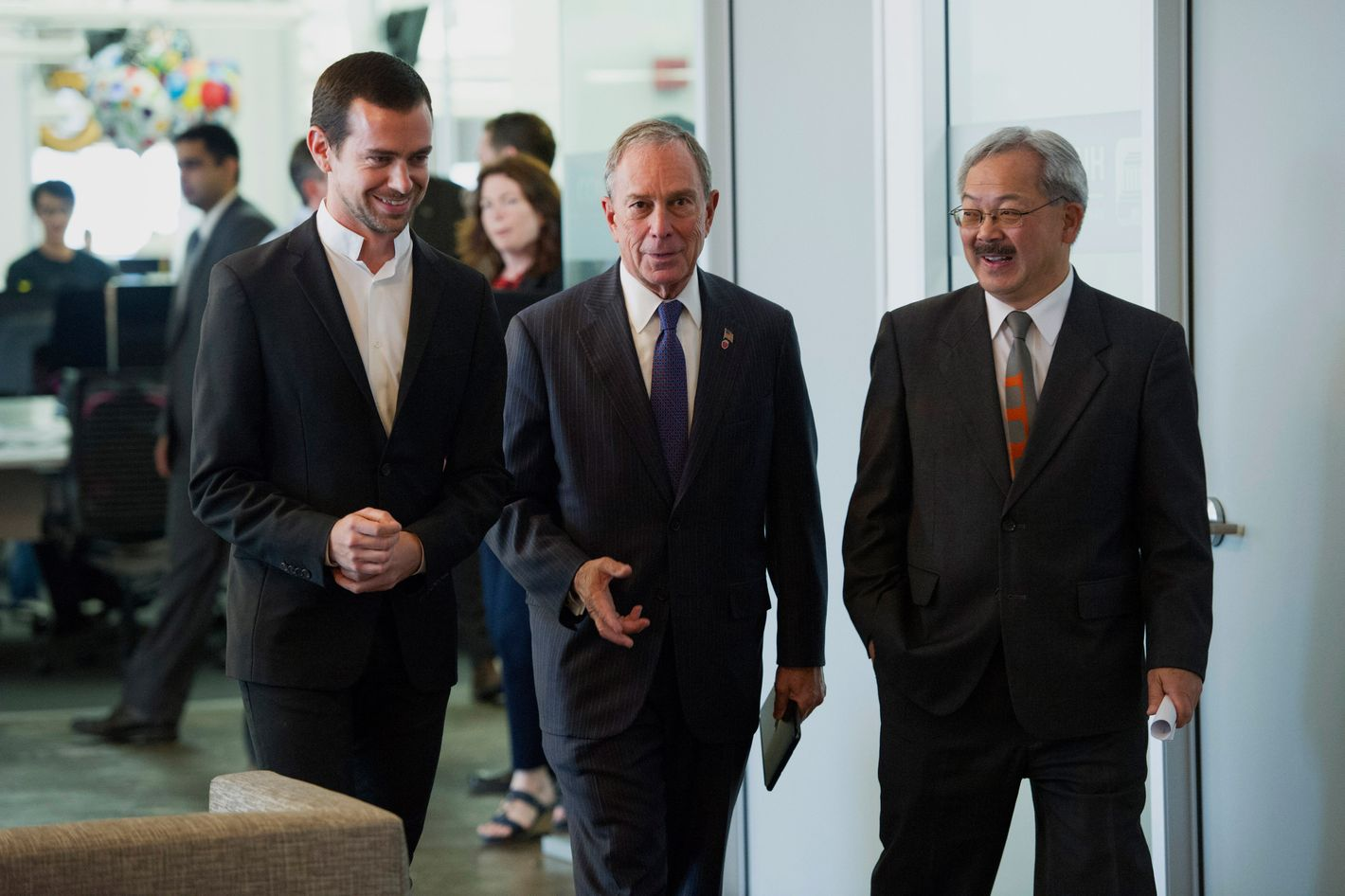 """Jack Dorsey, chairman and co-founder of Twitter Inc. with New York City Mayor Michael """"Mike"""" Bloomberg"""