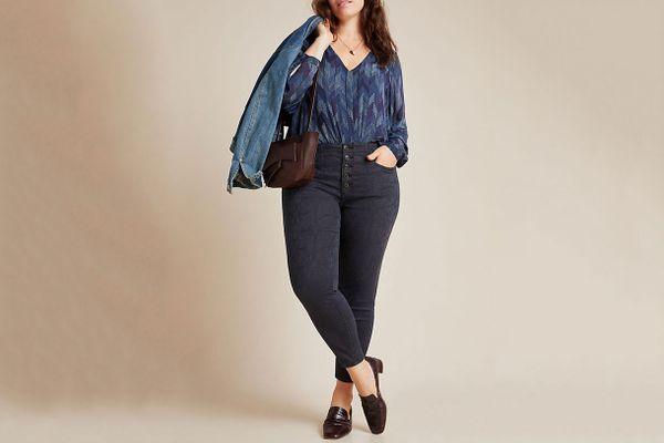 Pilcro High-Rise Jacquard Skinny Jeans