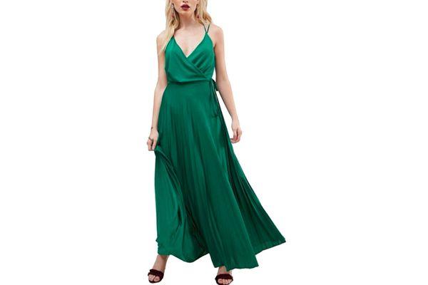 ASOS Blouson Wrap Maxi Dress With Tie Waist