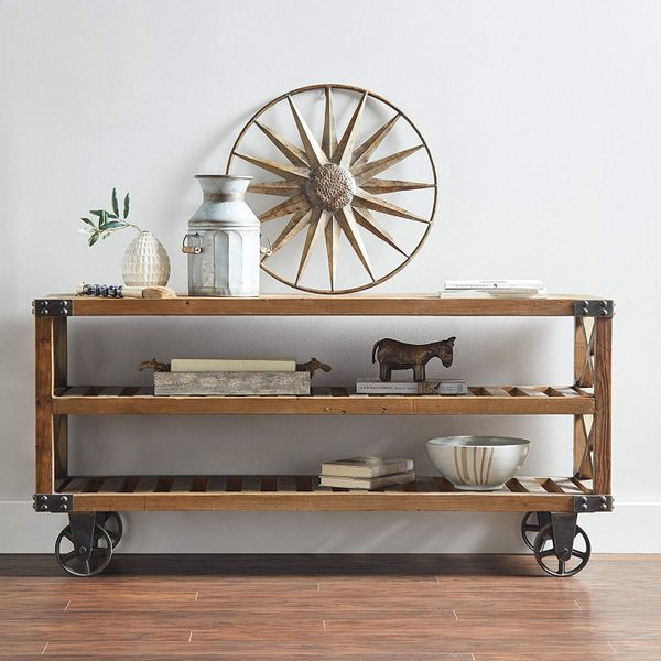 Stone & Beam Factory Wheel Entertainment Console, 58 Inches Wide
