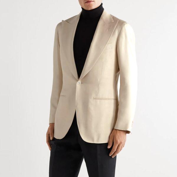 Saman Amel Slim-Fit Slub Silk Tuxedo Jacket