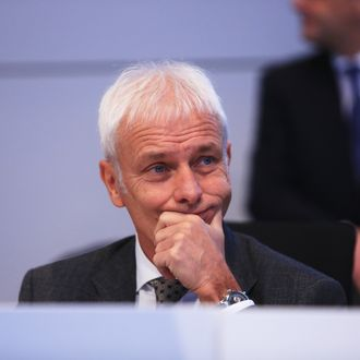 Volkswagen AG Chief Executive Officer Matthias Mueller Addresses Workers At The VW Headquarters