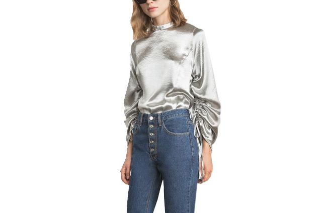 Silver Satin Ruched Top