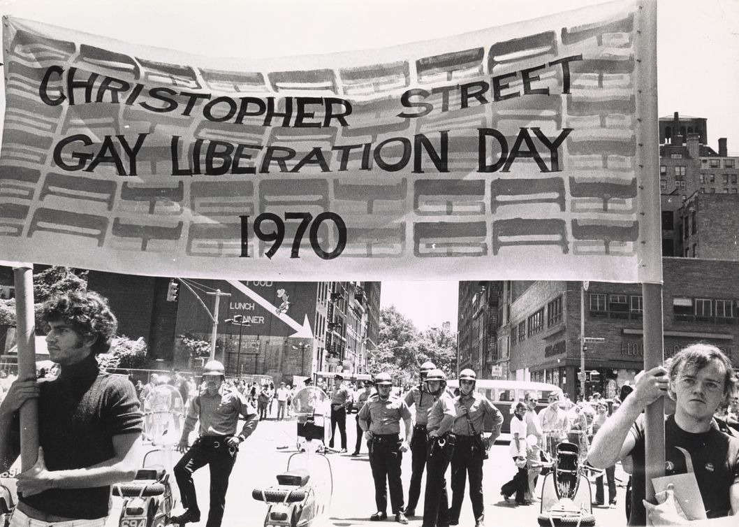 banner of Christopher St Gay Liberation day 1970 (Davies). Source: NYPL #1619938.