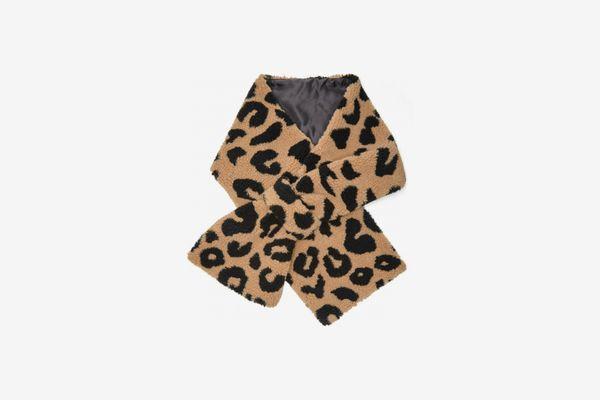 Apparis Shelley Leopard-Print Faux Fur Scarf