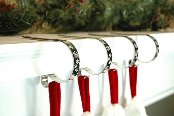 The Original MantleClip Stocking Holder With Snowflake Design, 4-Pack