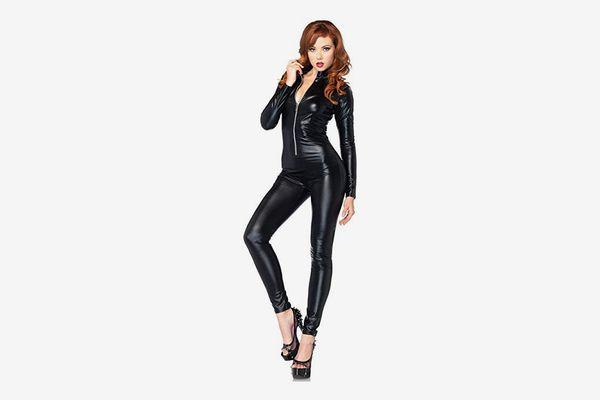 Leg Avenue Women's Wet-Look Zipper-Front Catsuit