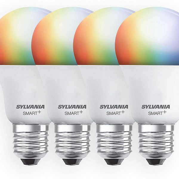 SYLVANIA Smart + Wifi Dimmable A19 Full Color LED Light Bulb, 4-Pack