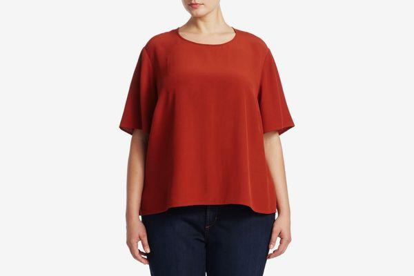 Eileen Fisher, Plus Size Plus Cold-Shoulder Shift Dress