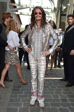 MILAN, ITALY - JUNE 24:  Steven Tyler arrives at the Roberto Cavalli show as part of Milan Fashion Week Menswear Spring/Summer 2015 on June 24, 2014 in Milan, Italy.  (Photo by Jacopo Raule/WireImage)