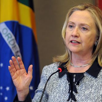 US Secretary of State Hillary Clinton speaks during a joint press conference with Brazilian Foreign Minister Antonio Patriota (out of frame) at Itamaraty palace in Brasilia, on April 16, 2012. Clinton is on a two-day visit to Brazil.