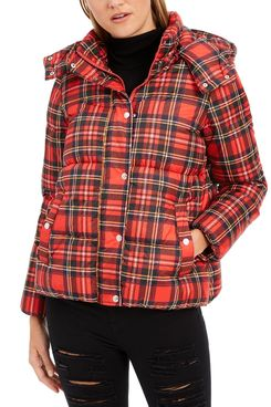 Tommy Hilfiger Hooded Puffer Coat, Plaid
