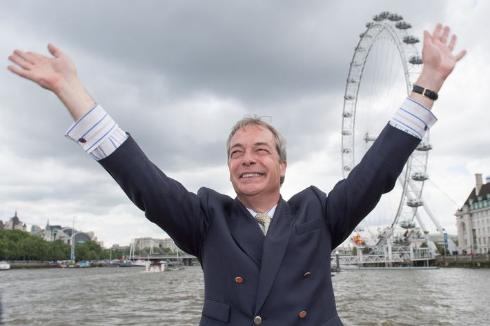 Nigel Farage Joins Fishing For Leave On A Flotilla Down The Thames