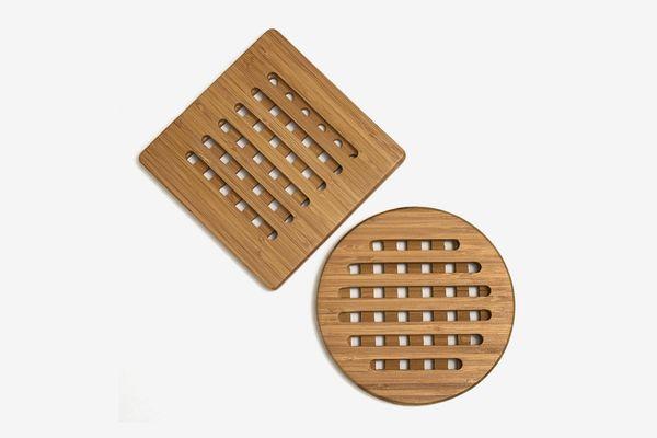 Lipper International 8821-2 Bamboo Wood Trivets, Set of 2