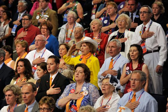Delegates on the floor of the Republican National Convention in Tampa, Florida.
