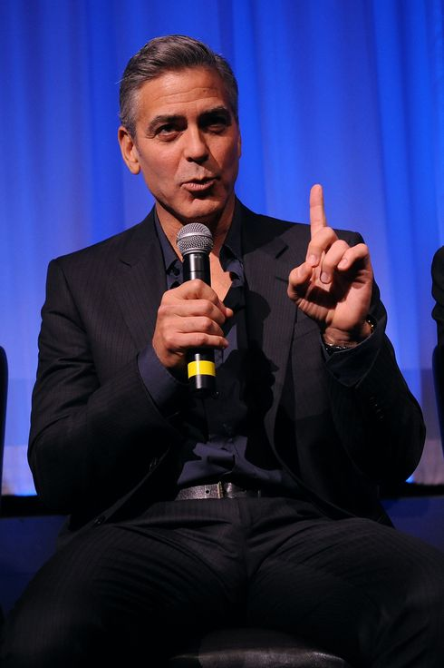 "Actor George Clooney attends an official screening of ""Gravity"" for Academy members hosted by The Academy of Motion Picture Arts and Sciences on October 2, 2013 in New York City."