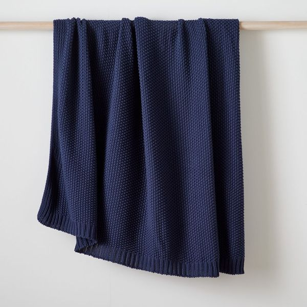 West Elm Cotton Knit Throw (Midnight Blue)