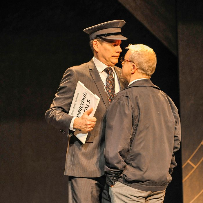 ?Andrew Higgins 07722962922/mail@andrewhiggins.net 26th February 2014PICTURE COPYRIGHT Andrew Higgins, for the Stephen Joseph TheatreAlan Ayckbourn's Arrivals and Departures, touring from the Stephen Joseph Theatre, Scarborough. From left, Bill Champion, Kim Wall.ALL PICTURES SUPPLIED TO THE STEPHEN JOSEPH THEATRE FOR USE IN PRESS, PUBLICITY FOR THIS PRODUCTION AND FOR USE ON ALL IN-HOUSE PUBLICATIONS AND WEBSITES.