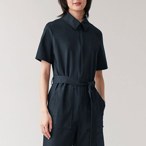 Cos Stores Belted Cotton Jumpsuit