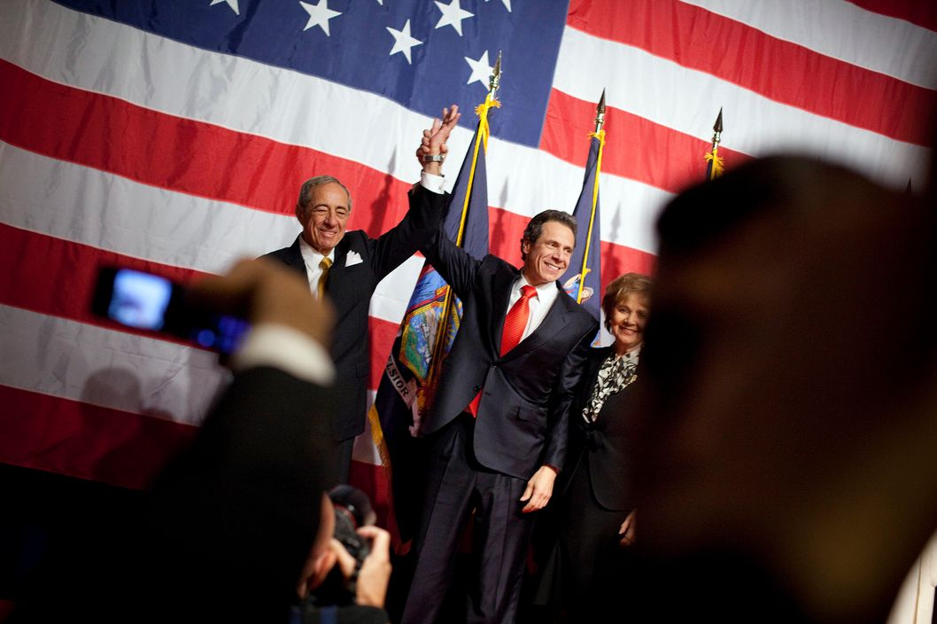 NEW YORK - NOVEMBER 02:  New York Governor-elect Andrew Cuomo (C) celebrates with his father former New York Governor Mario Cuomo (L) and mother Matilda Cuomo at the Sheraton New York on election night, November 2, 2010 in New York City. Cuomo resoundingly defeated his Tea Party-backed opponent, Republican candidate Carl Paladino.  (Photo by Michael Nagle/Getty Images) *** Local Caption *** Matilda Cuomo;Mario Cuomo;Andrew Cuomo