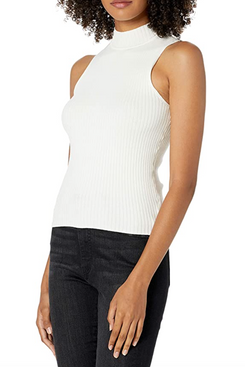 The Drop Women's Karolina Sleeveless Mock Neck Rib Sweater