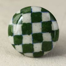 Knobco Handmade Round Green-and-White Checkerboard Ceramic Cabinet Knobs