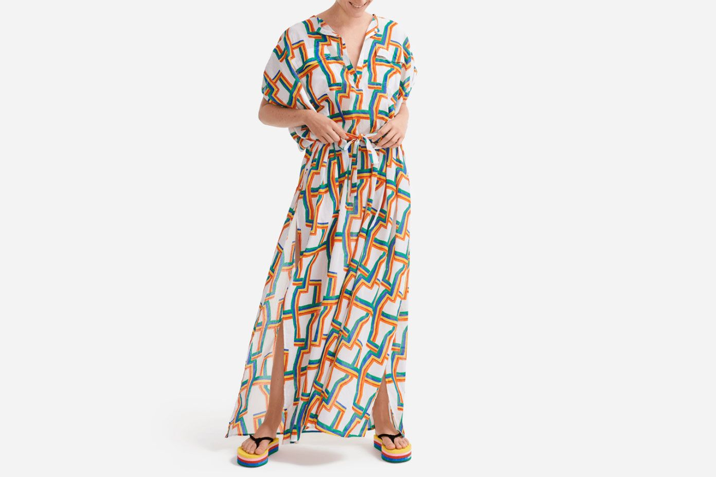 Long Cover-up in Cotton Voile Africain